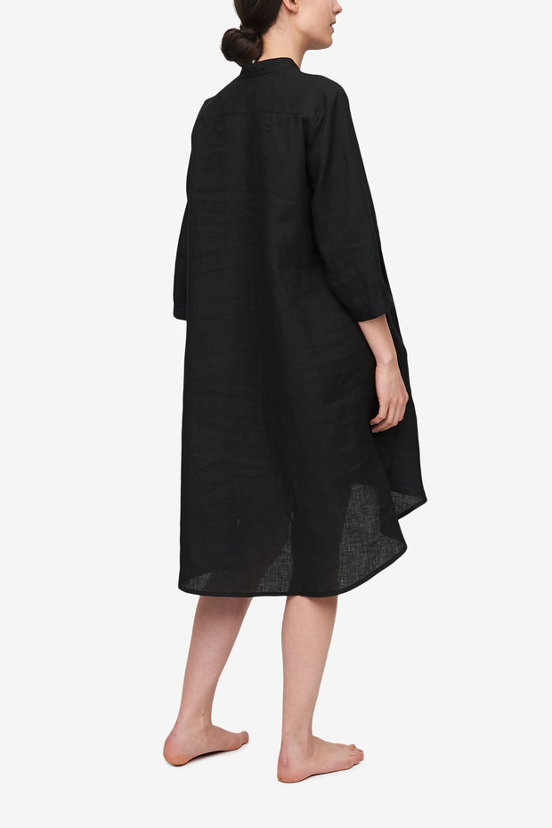 Flared Sleep Shirt Black Linen