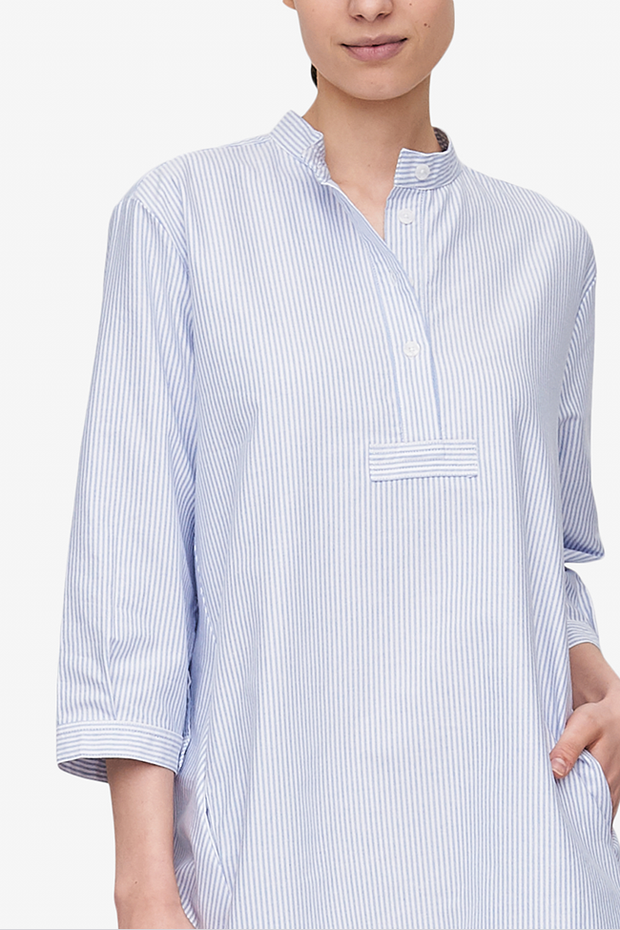 Flared Sleep Shirt Blue Oxford Stripe