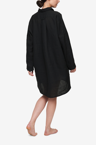 Dropped Shoulder Sleep Shirt Black Linen
