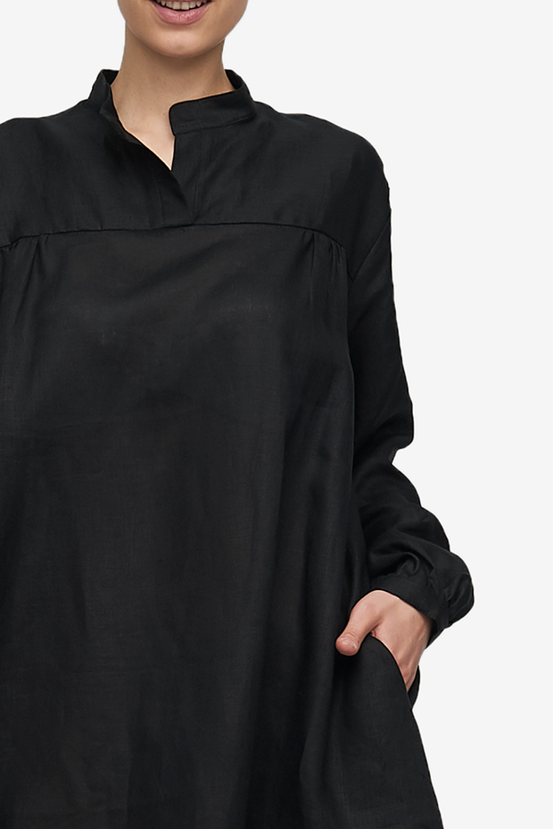 Bishop Sleeve Shirt Black Linen