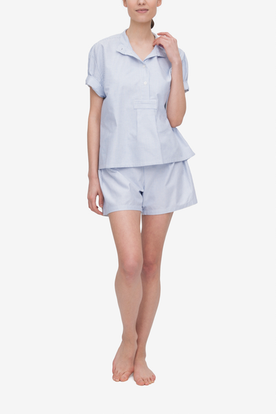 Set - Short Sleeve Cropped Sleep Shirt and Pleat Short Blue Oxford Stripe