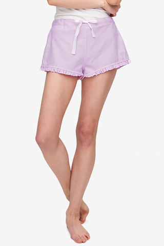 front view ruffled sleep short pink cotton linen blend by The Sleep Shirt