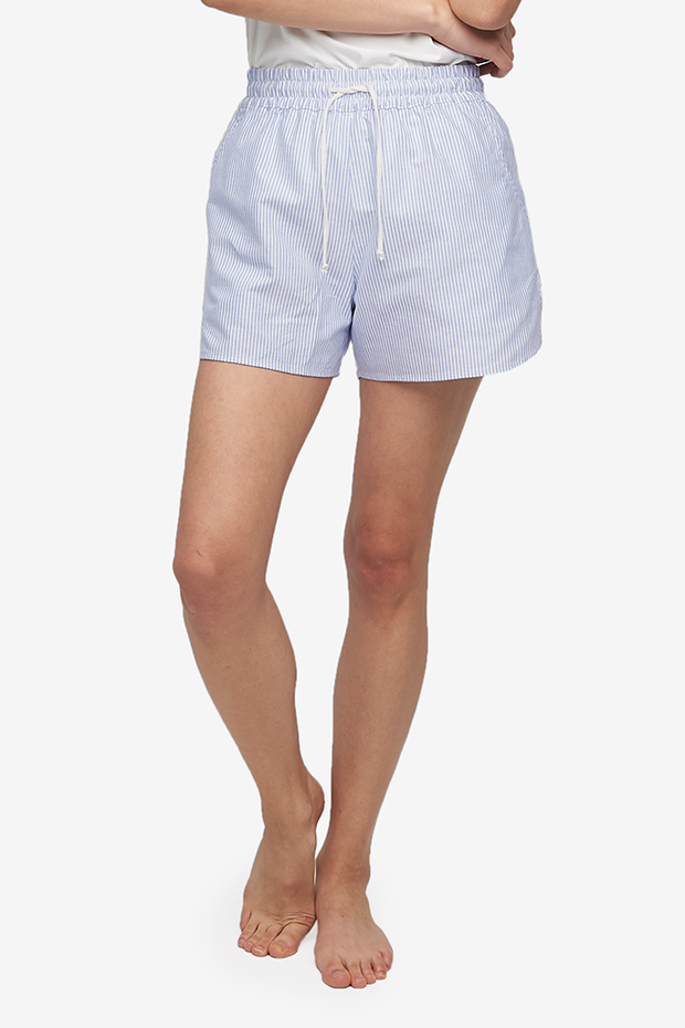 Set - Slip On Top and Curved Hem Short Blue Oxford Stripe