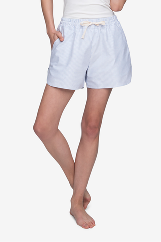 front view curved hem drawstring shorts blue oxford stripe cotton by the Sleep Shirt