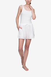 Set - Short Sleeve Cropped Sleep Shirt and Curved Hem Short White Linen