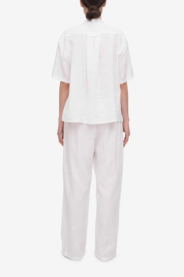 Set – Short Sleeve Cropped Sleep Shirt and Lounge Pant White Linen