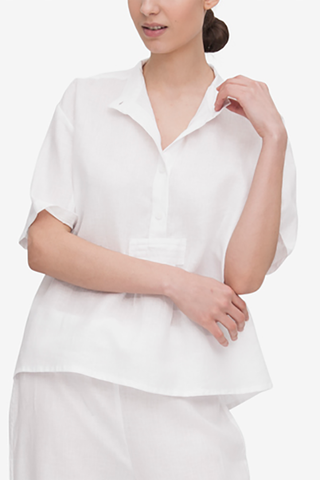 Front view of classic short sleeve cropped sleep shirt in white linen by The Sleep Shirt