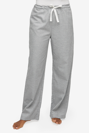 Set - Short Sleeve Cropped Sleep Shirt and Lounge Pant Grey Twill Cashmere Blend