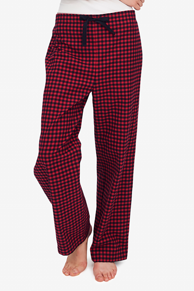 Set - Short Sleeve Cropped Sleep Shirt and Lounge Pant Red Buffalo Check