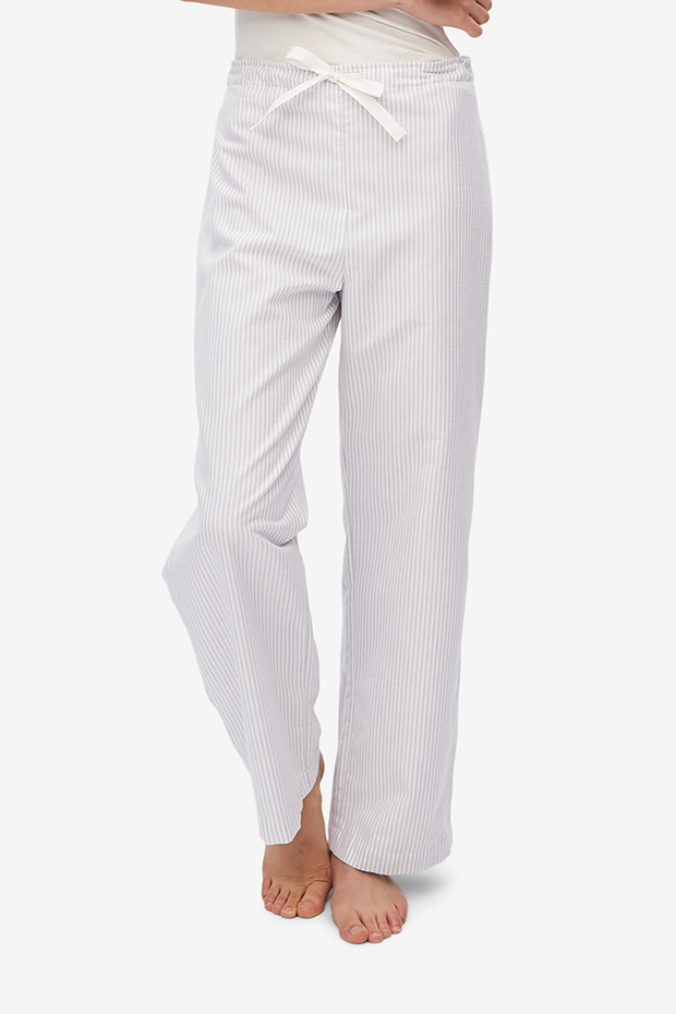 Lounge Pant Dove Grey Stripe Flannel