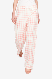 Front view of the Lounge Pant in a beautiful cream and pink check flannel. Th best thing to sleep in on cold nights.