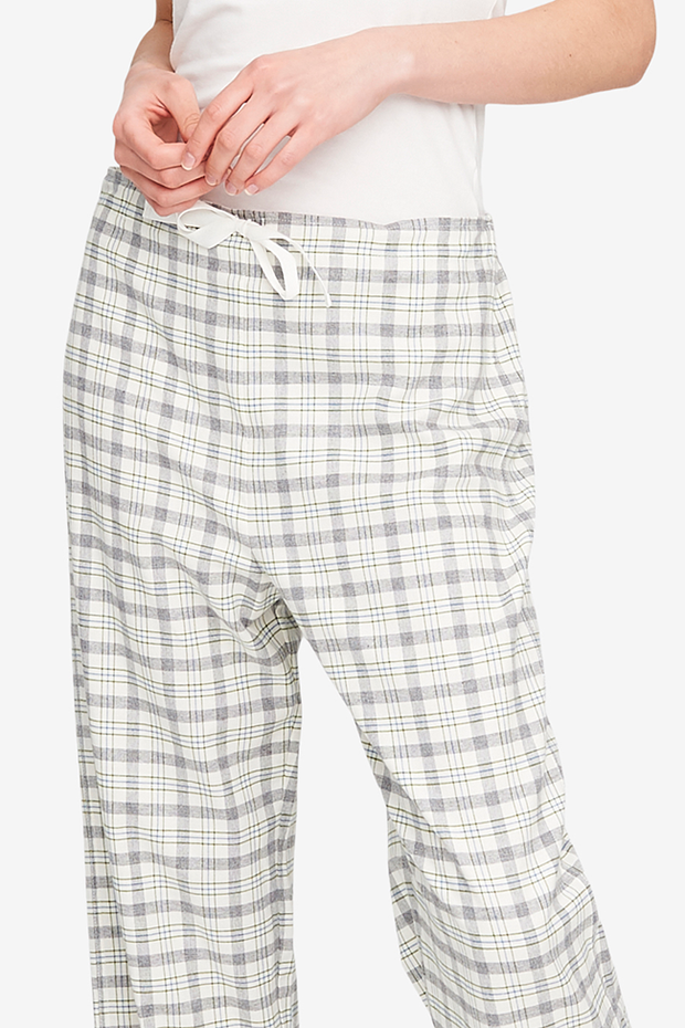 Set - Slip On Top and Lounge Pant Grey Plaid Flannel