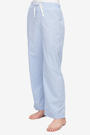 front view lounge pant cook's blue stripe cotton by the Sleep Shirt