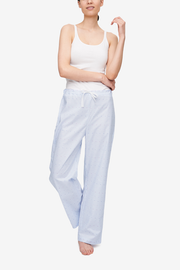 Set - Wrap Top and Lounge Pant Cross Blue Stripe