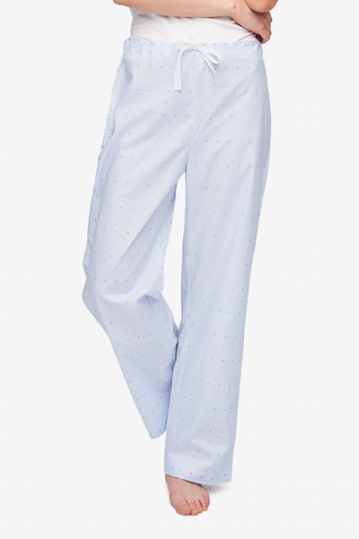 front view lounge pant blue and white striped cotton by the Sleep Shirt