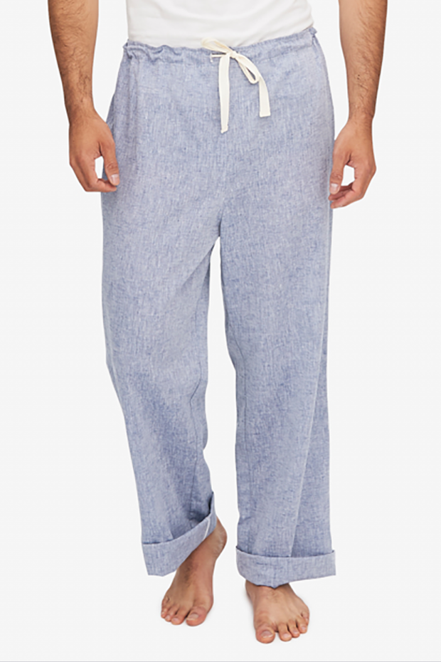 front view men's lounge pant blue linen chambray by the Sleep Shirt