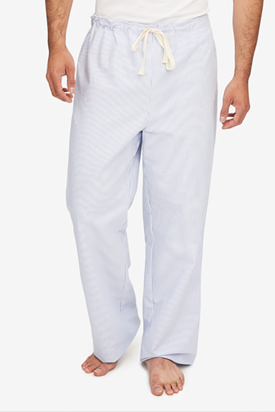 front view men's lounge pant blue and white striped oxford cotton by the Sleep Shirt