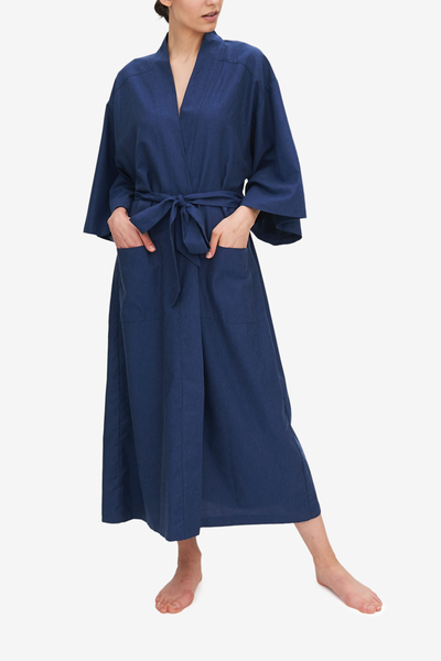 front view full length dark blue robe in cotton twill by The Sleep Shirt