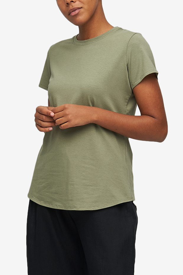 Short Sleeve Crew Neck T-Shirt Army Green Stretch Jersey