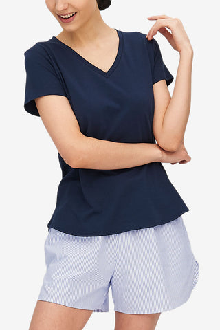 Short Sleeve V Neck T-Shirt Denim Blue Stretch Jersey