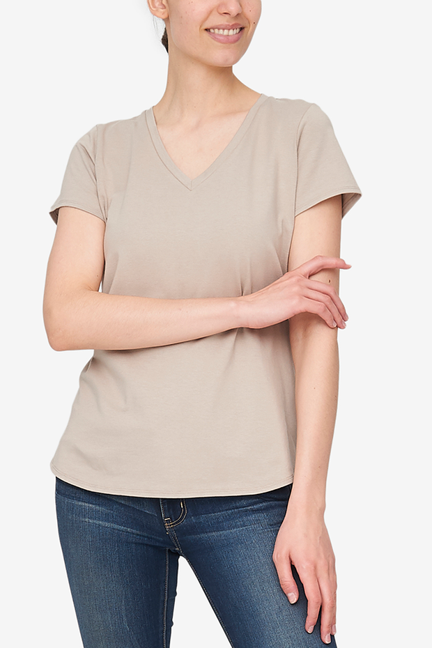 Short Sleeve V Neck T-Shirt Sand Stretch Jersey