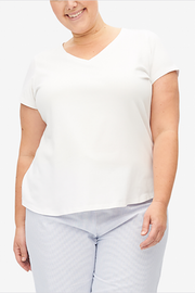 Short Sleeve V Neck T-Shirt White Stretch Jersey