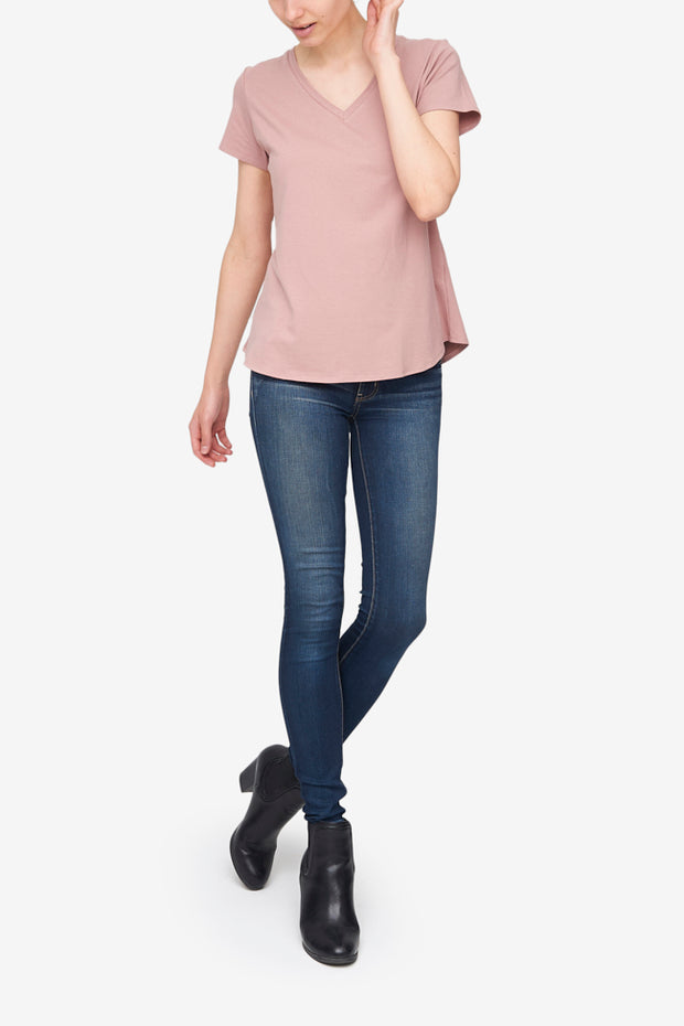 Short Sleeve V Neck T-Shirt Petal Stretch Jersey