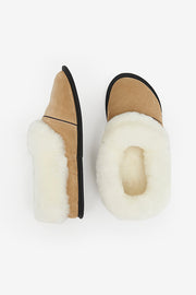 Sheepskin and Leather Slipper Black