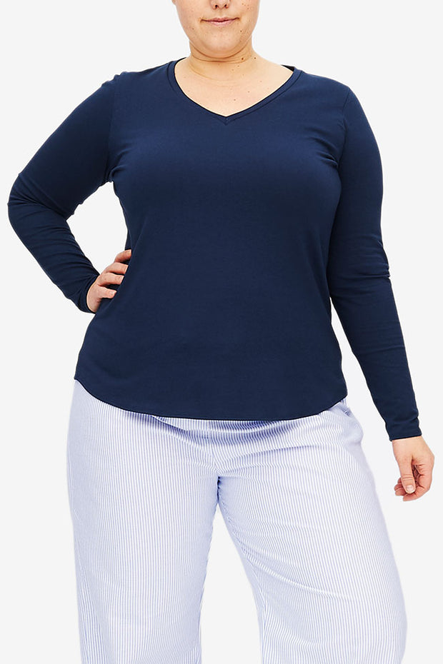 Long Sleeve V Neck T-Shirt Denim Blue Stretch Jersey