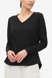 Long Sleeve V Neck T-Shirt Black Stretch Jersey