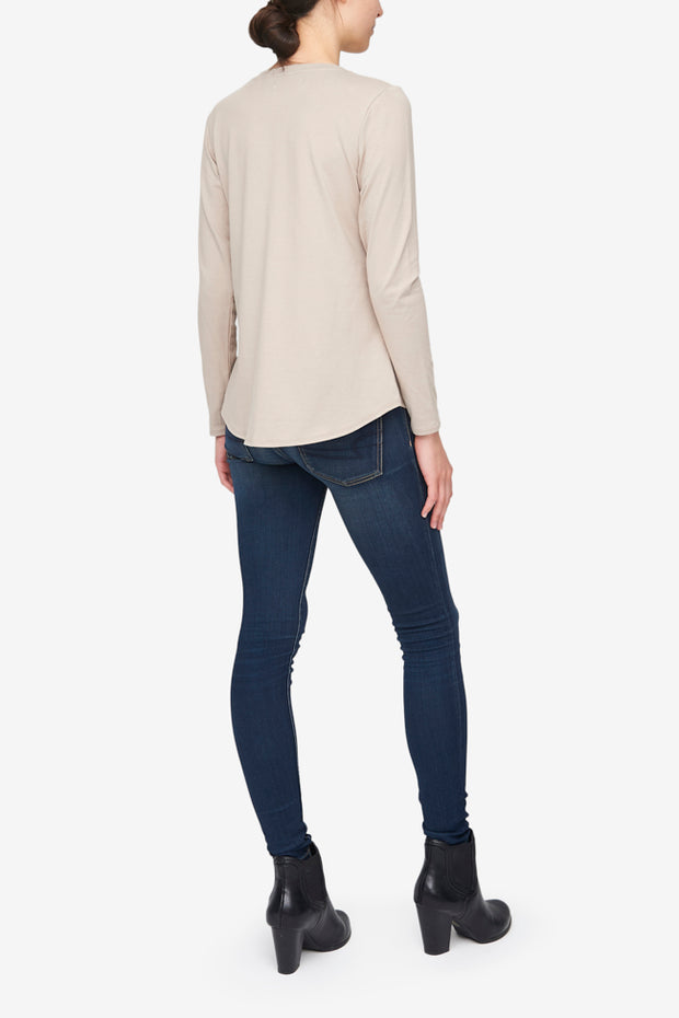 Long Sleeve V Neck T-Shirt Sand Stretch Jersey