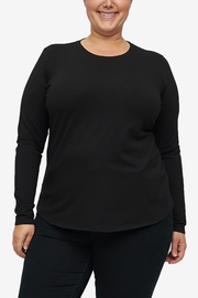 Long Sleeve Crew Neck T-Shirt Black Stretch Jersey