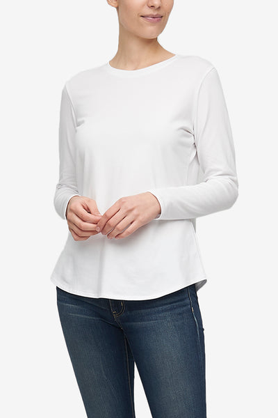 Long Sleeve Crew Neck T-Shirt White Stretch Jersey