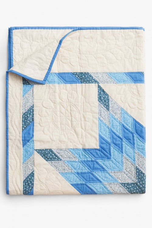 folded blue pattern amish cotton blanket quilt handmade in USA by the Sleep Shirt