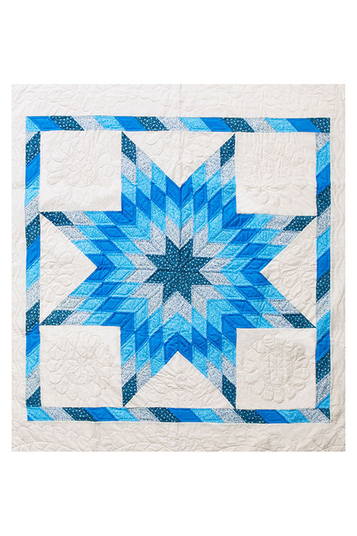 blue pattern amish cotton blanket quilt handmade in USA by the Sleep Shirt