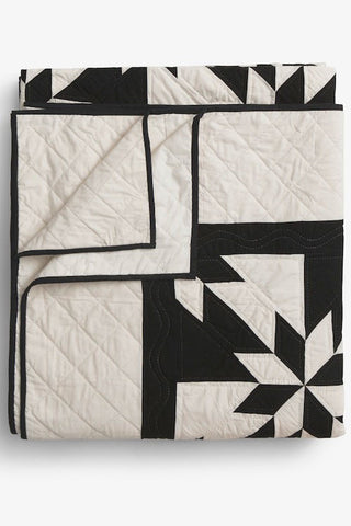 Amish Patchwork Duotone Queen Size Quilt Black/Unbleached