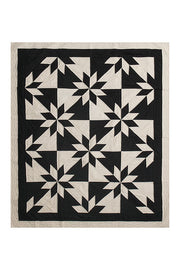 throw size black and cream pattern amish cotton blanket quilt handmade in USA by the Sleep Shirt