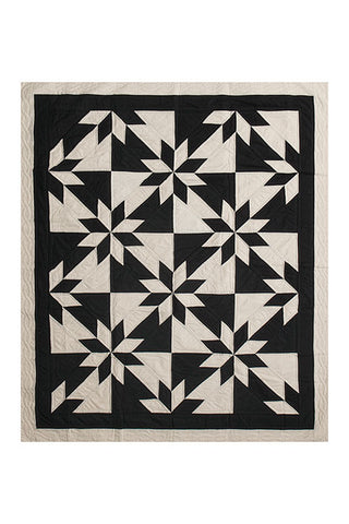 Pre Order - Amish Patchwork Duotone Throw Quilt Black/Unbleached
