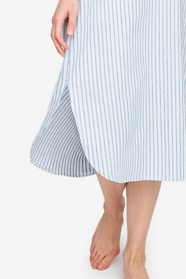 Ankle Length Sleep Shirt Sapporo Cotton Linen Stripe
