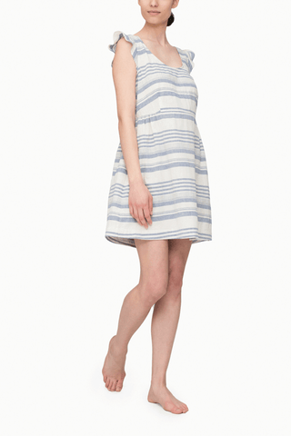 front view nightie nightgown dress with flounce sleeve beach stripe cotton linen blend by the Sleep Shirt