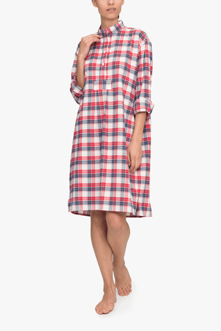front view long sleep shirt berry plaid cotton by the Sleep Shirt