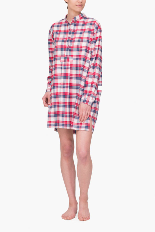 front view short sleep shirt berry plaid cotton by the Sleep Shirt