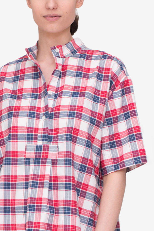 Short Sleeve Cropped Shirt Berry Plaid