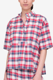 front view short sleeve cropped sleep shirt berry plaid cotton by the Sleep Shirt
