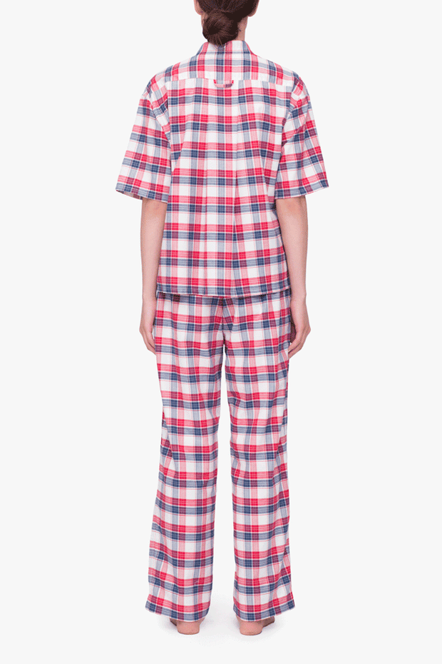 back view short sleeve cropped sleep shirt and lounge pant set berry plaid cotton by the Sleep Shirt