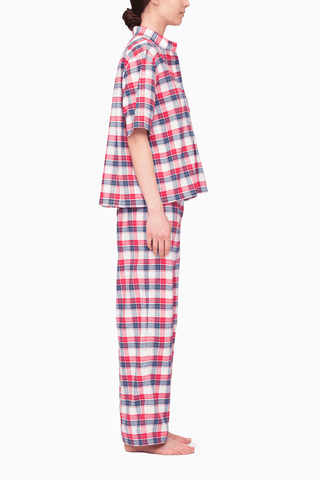 Set - Short Sleeve Cropped Sleep Shirt and Lounge Pant Berry Plaid