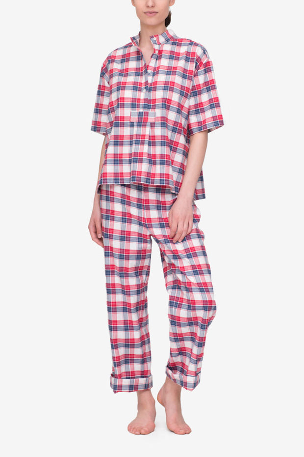 front view short sleeve cropped sleep shirt and lounge pant set berry plaid cotton by the Sleep Shirt