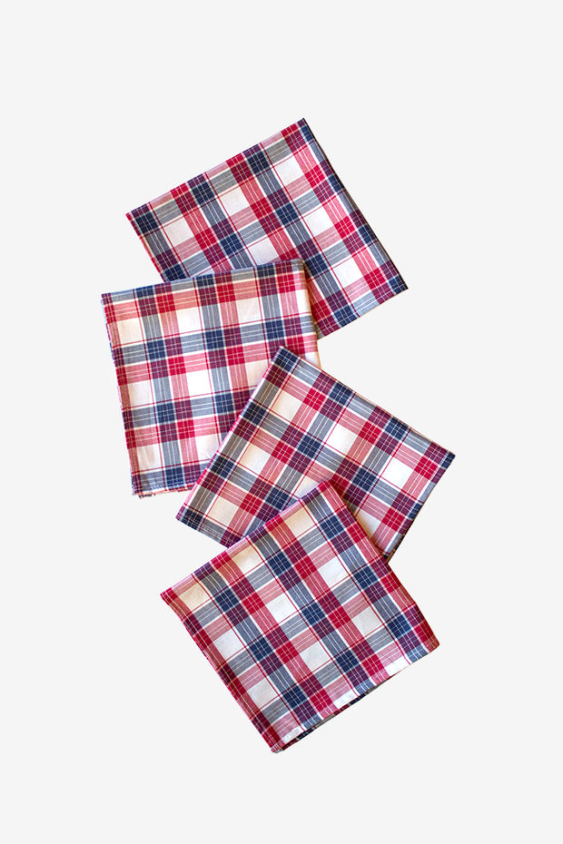 Large Berry Plaid Napkins - Set of 4