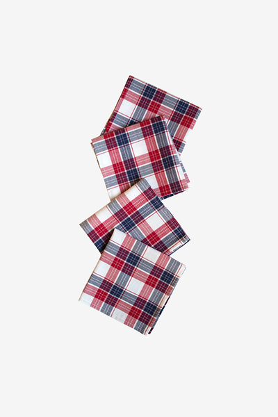 Small Berry Plaid Napkins - Set of 4
