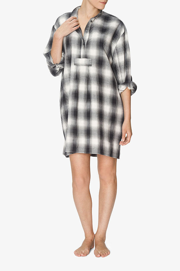 Short Sleep Shirt Black Glen Plaid